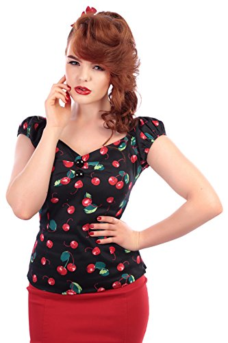 Collectif DOLORES 50s CHERRY Kirschen Pin Up Vintage BLUSE Rockabilly - 4