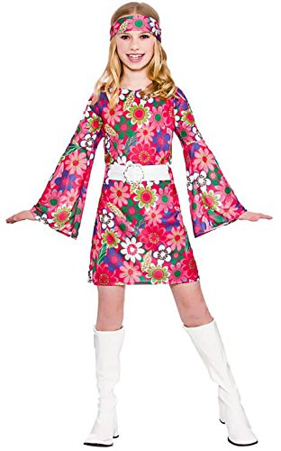 Girls Retro Go Go Girl Fancy Dress Up Party Costume Halloween Child 60s Outfit (60's Und 70's Fancy Dress Kostüm)