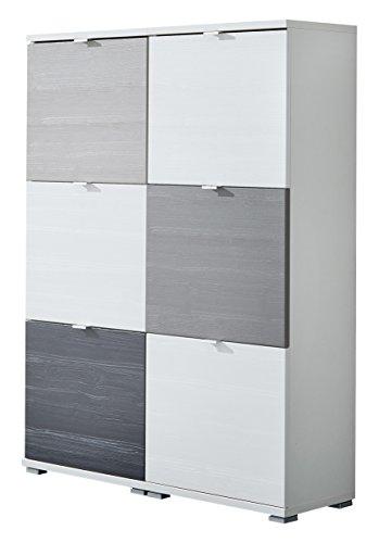 Germania-8763-84-Colorado-20-Struktur-Schuhschrank-Set-MDF-Struktur-Spanplatte-weisandschwarzbasalt-30-x-106-x-132-cm