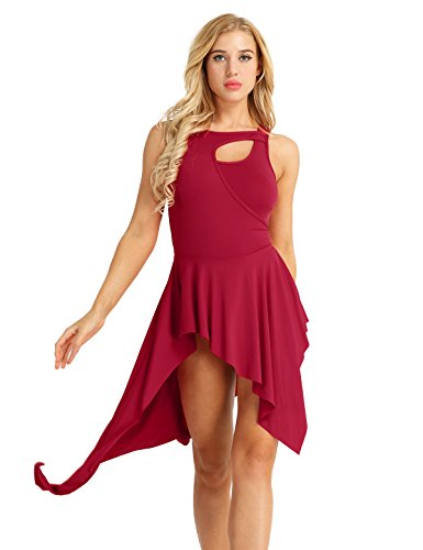 IEFIEL Vestidos de Danza Flamenco Baile Latino Latin Moderno para Mujeres Maillot Ballet Vestido Asimetrico Leotardo Body de Fiesta Actuación Rojo M