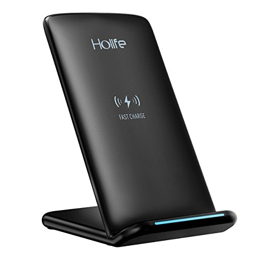 Holife Neuste Version I Fast Wireless Charger (10W Qi Ladegerät Charger für iPhone 8/8 Plus/X Samsung Galaxy Note 8/S8/S8 Plus/S7/S7 Edge/S6 Edge Plus/Note 5 und alle Qi-fähige Geräte) Schwarz