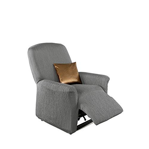 Erwin Müller Stretchbezug, Stretchhusse, Bezug für Relax-Sessel grau - Krepp-Struktur, praktische Gummizüge, pflegeleicht, strapazierstark (weitere Farben, Größen)