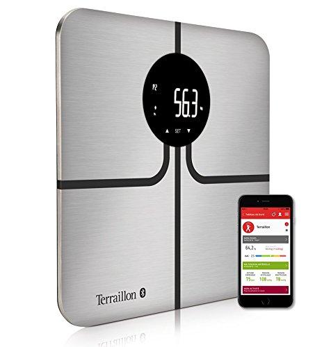 Terraillon Balance Connecté Masses Corporelles 8 Mémoires Utilisateurs Bluetooth Ultra-fin 150kg R-Link Inox/Noir