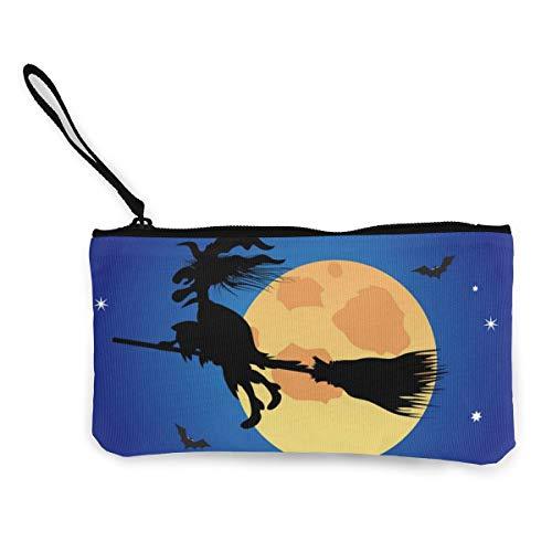 Wrution Halloween-Geldbörse, Motiv: Hexe auf dem blauen Nachthimmel, personalisierbar, Leinen, mit Reißverschluss, kleine Geldbörse, weiblich, tragbar, große Kapazität -