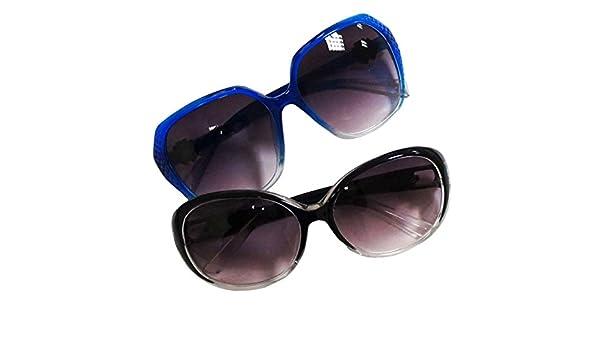 HAND 5057 Mesdames Grand Mode foncé Lunettes de Soleil Teintées UV400, Couleurs Assorties, Dessins et Modèles - Paquet DE 2