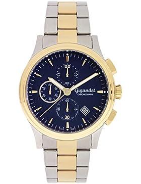 Gigandet Quarz Herren-Armbanduhr Traveller Chronograph Uhr Datum Analog Edelstahlarmband Blau Gold G44-005