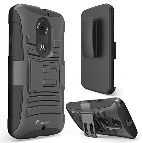 Moto X 2. Generation Case - i-Blason Google Motorola Moto X Case Prime Serie Case Schutzhülle Tasche 2-Schicht Holster Hülle mit Standhälter, schwenkbaren Gürtel mit Locking-Mechanismus Schwarz