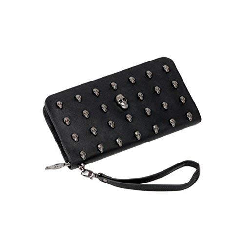 VORCOOL Langen Geldbörse PU Leder Brieftasche mit Niet Reißverschluss (Schwarz) -