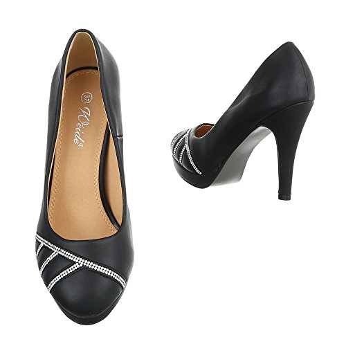 High Heel Damenschuhe Plateau Pfennig-/Stilettoabsatz High Heels Ital-Design Pumps Schwarz 0OgJXvYIU