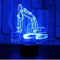 3D LED Night Light Machinery to dig Digger Excavator with 7 Colors of Light for Home Decoration Display lamp