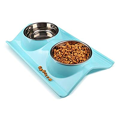 Miaosun Double Stainless Steel Dog Cat Bowls with Non-skid&Non-spill Design, for Pet Food and Water Feeder from DRT
