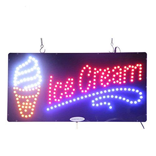 LED Schild Eis offenen Leuchten Super Hell High Qualität E-Werbung Display Board für gelatos Smoothies Milchshakes Shop Store Fenster Schlafzimmer Decor 48,3x 25,4cm
