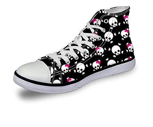 Halloween Skull Women Girls Hi Tops Canvas Flat Lace Up Plimsolls Trainers Shoes C0753AK cool UK 6 = EU 39