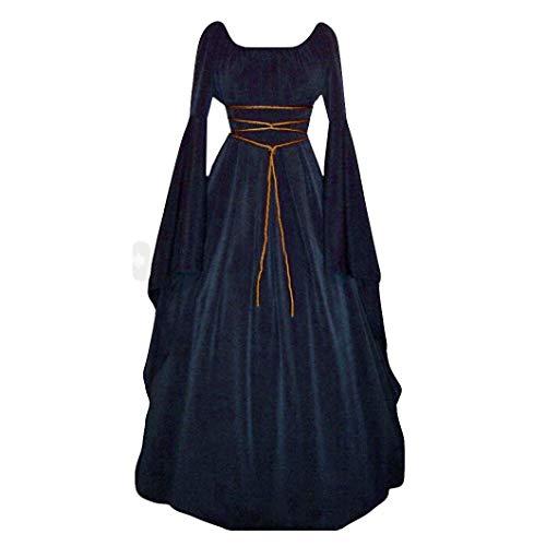 Chinesische Kostüm Verleih - Huacat Mittelalterkleid Damen Einfarbig Vintage Rundhals