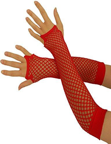 Yummy Bee Fingerlose Netzhandschuhe Lang Kurz Damen Burleskes Kostüm 80er (Rot, - 80 Prom Kostüm