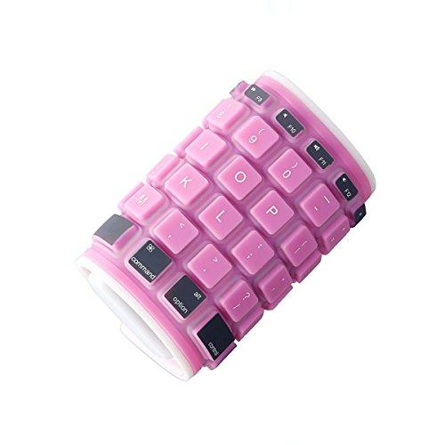 dizauL Pieghevole universale impermeabile tastiera in silicone senza fili Bluetooth, Rosa, US Version