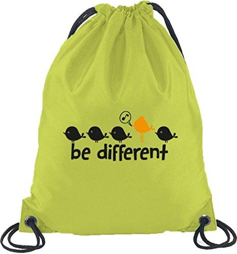 Shirtstreet24, Be Different, Turnbeutel Rucksack Sport Beutel Limone