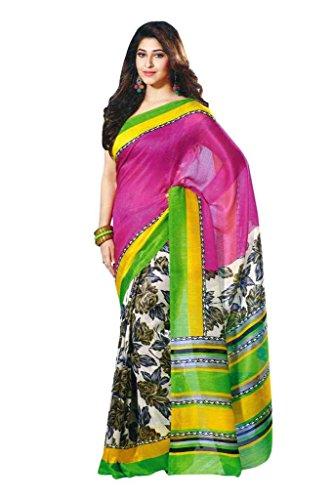 Satrang Women Synthetic Sarees (94133A _Pink _Free Size)