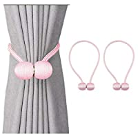 Magnetic Curtain Tiebacks 1 Pair Magnetic Curtain Straps Strong Magnetic Curtain Buckle for Home Office (Pink)