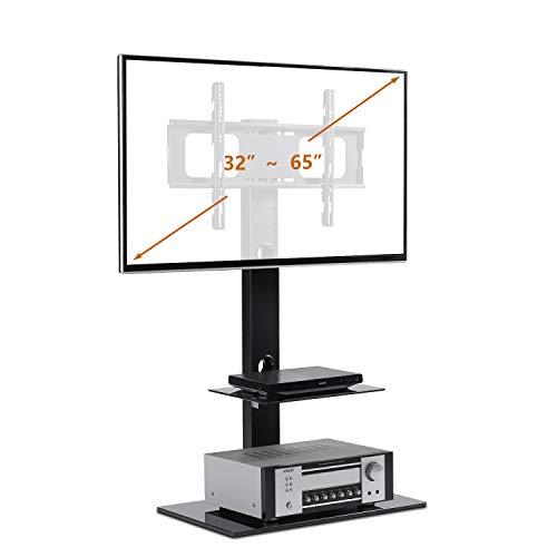 RFIVER TV Standfuß 3-in-1-TV-Ständer für 32-65 Zoll LCD LED OLED QLED TVs und Glass Media Storage Shelf Schwarz, TF2001
