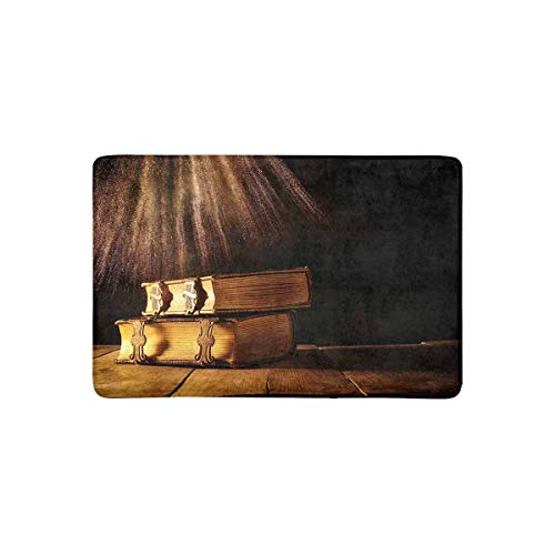 Libri gotici medievali di Fantasia con Chiusure in Ottone su Vecchio Tavolo in Legno Zerbino Antiscivolo Interno/Esterno Zerbino Tappetino Home Decor, Tappeto d'ingresso