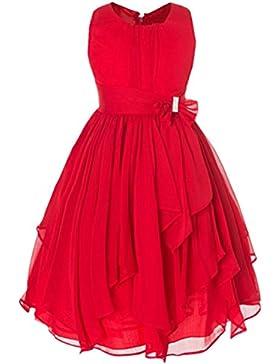 LSERVER-Vestido de Falda de Volantes Irregulares Vestido de Gasa Sin Mangas para Las Niñas