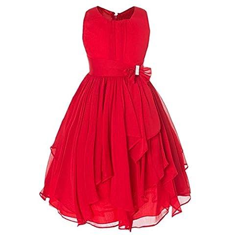 Girl Dress Kids Bowtie Belt Sleeveless Party Wedding Princess Dresses Red 120