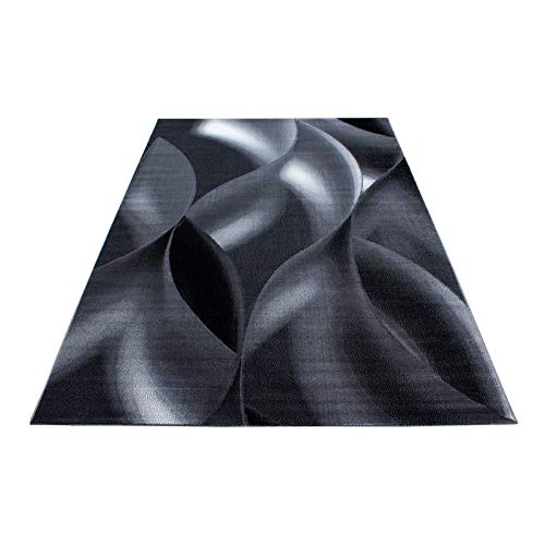 Schwarz Und Weiß Moderne Teppich (Teppich Designer Modern Kurzflor Abstrakt Wellen Muster Schwarz Grau Weiß Oeko Tex, Maße:200x290 cm)