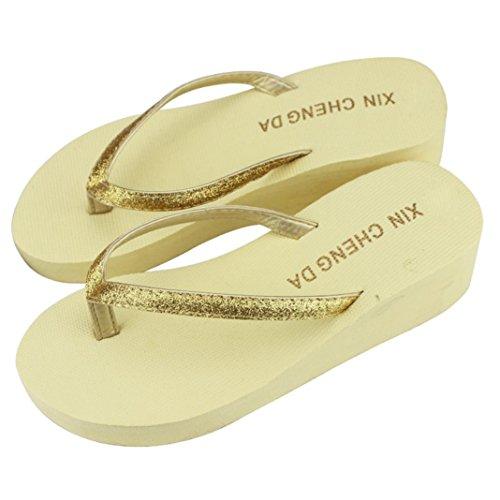 Amlaiworld Pantofole Donna Estive Moda Flip Flops Pantofole all'aperto beige