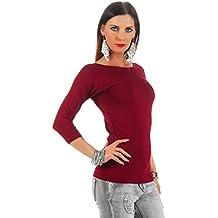 302636ff78ebae Mellice - Damen Longshirt U-Boot Ausschnitt 3 4 Arm Shirt Longtop