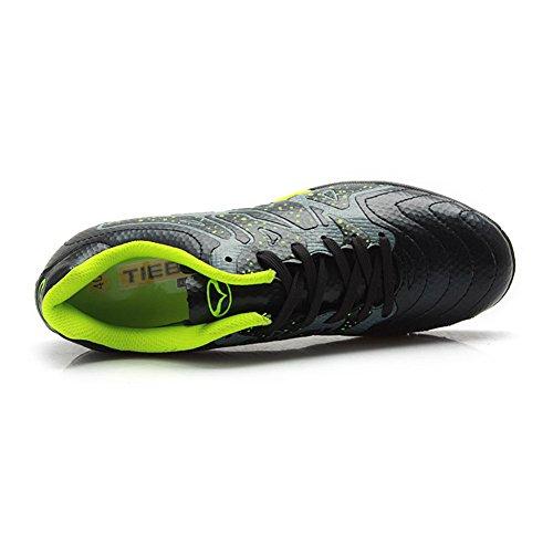 Tiebao Garçon Difficile Sol Artificiel La Vitesse Pu Cuir Football Chaussures Noir