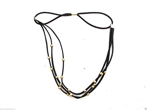Noir et or perles trois brins Bandeau festival Boho Luxe cheveux Chaîne I30 * * * * * * * * exclusivement vendu par – Beauté * * * * * * * *