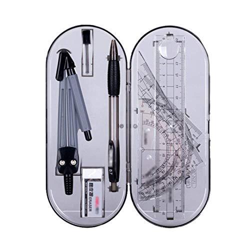 MOBRAVO Kit 8pcs Outils de Géométrie Compas Règle Equerre Rapporteurs Géométriques Porte-mines Gomme à Effacer dans une Boîte de Rangement Style A