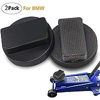 Almohadilla del gato del coche, 2 paquete BMW Slotted Frame Rubber Jack Protector del carril del marco del cojín - Negro