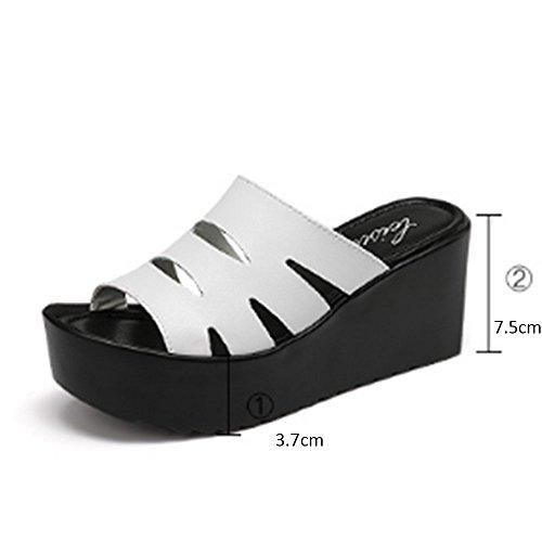 Confortevole Pantofole spesse di cuoio Le donne portano i pattini sdrucciolevoli di modo Pendente esterno con i pistoni freddi I pistoni femminili di estate (2 colori facoltativi) (formato facoltativo A