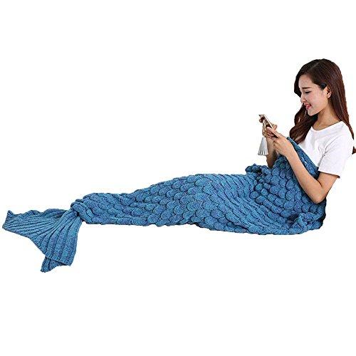 J&Juin handgemachte gestrickte Mermaid Schwanz Decke mit Fisch-Skala-Muster, Warm Sofa Quilt Wohnzimmer Decke für Erwachsene und Kinder 190cmX90cm (Blauer See)