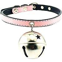 Fandecie Collana di cuoio Pet Dog Cat NAPPA PU regolabile con grande Silver Bell