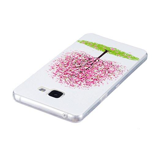 Custodia Galaxy A5 2016 - Cover per Samsung Galaxy A5 2016 - ISAKEN Fashion Agganciabile Luminosa Custodia con LED Lampeggiante PU Pelle Portafoglio Tinta Unita Cover Caso per Samsung A5 2016, Luxury  albero rosa