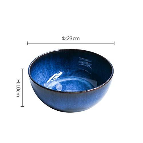 ZY&DD Japaner Große schüssel,Salatschüssel,Kreative große Nudel Bowl,Keramik suppenschüssel,Topf Suppe,Retro-besteck,Haushalt schüssel Porzellan-A 23cm(9inch) - Großer Keramik-topf