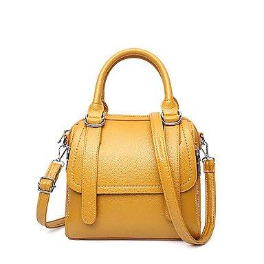 Le donne della moda ricamo PU in pelle Tracolla Messenger Crossbody borse/borsa borse,giallo Purple