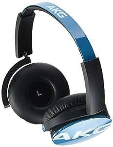 AKG Y50 Cuffie Portatili Pieghevoli con Cavo Rimovibile, Controllo Remoto Volume/Microfono, Compatibili con Dispositivi Apple iOS e Android, Azzurro