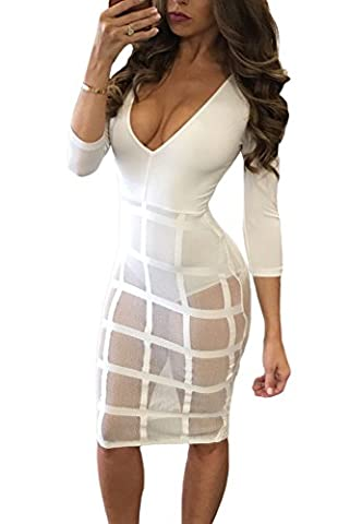 Miss Chica's Womens Sexy White Plunge V Neck High Waisted Knee Length Caged Skirt Bodysuit Dress (Small 8-10 UK,