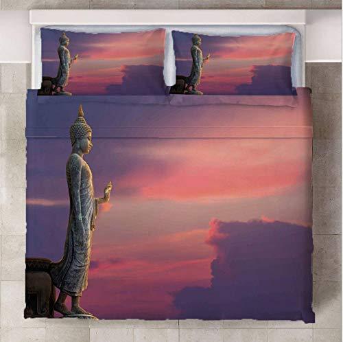 TAPIDNO Set De Funda Nórdica 3D Gran Buda bajo la Puesta de Sol Funda De Edredón 3D Imprimiendo, Cremallera Funda Nórdica y Funda de Almohada 140cm x 200cm