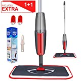 Amabana Microfiber Floor Spray Mops Water Spraying Cleaner for House Kitchen Hardwood with 2 Washable Wet Mop Pads and Dust Scraping Tool