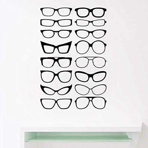 Wangyy Brillen Specs Rahmen Vinyl Wandaufkleber Brillen Rahmen Kunst Decals Optisch Shop Optiker Büro Fenster Tür Dekor 86X56 Cm