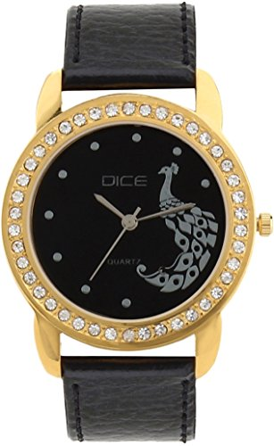 "Dice ""Princess 8107"" Fashionable, Elegant, Contemporary, Tasteful Attractive Watch for Women. Fitted with Black Dial, Gold Plated Jewel Stone Case with Anti Allergic Leather Strap"