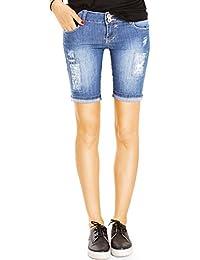 Bestyledberlin Damen Jeansshorts, Kurze Hosen, Used Look Denim Jeans Shorts j100kw