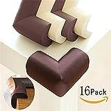 Mondeer Baby Kantenschutz Schutz-Ecken, Eckenschutz für Kindersicherung Hochwertige Kantenschoner für Ecke, Tisch und Möbel, 16 Pack (brown)