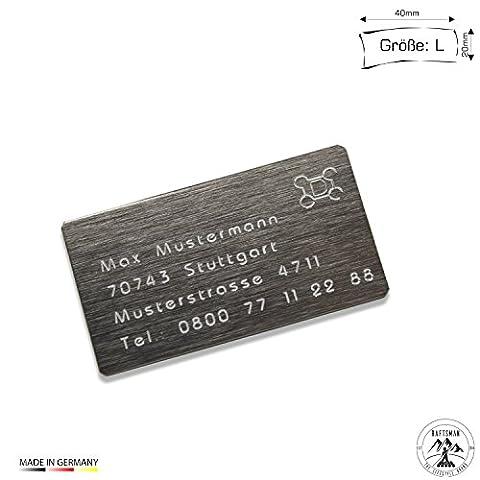 Drohnenkennzeichen / Drohnen Kennzeichnung / Kennzeichen / Fluggerätekennzeichnung / Quadrocopterkennzeichnung inkl. individueller CNC Gravur und doppelseitigem Klebeband (Aluminium Edelstahl Look