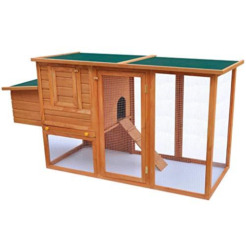 Soulong gabbia per pollo all'aperto, pollaio all'aperto con una casetta di cova in legno, grande pollaio gabbia per pollame gabbia di legno, 192 x 75 x 103 cm